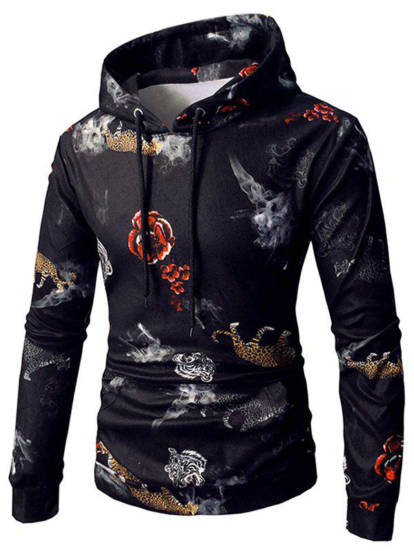 Discount Flower and Tiger Print Drawstring Hoodie