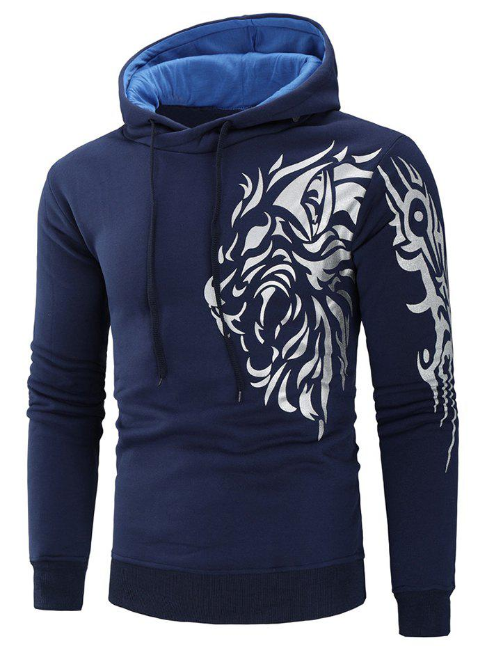 Sweat à Capuche Tigre Imprimé en Blocs de Couleurs Cadetblue 2XL