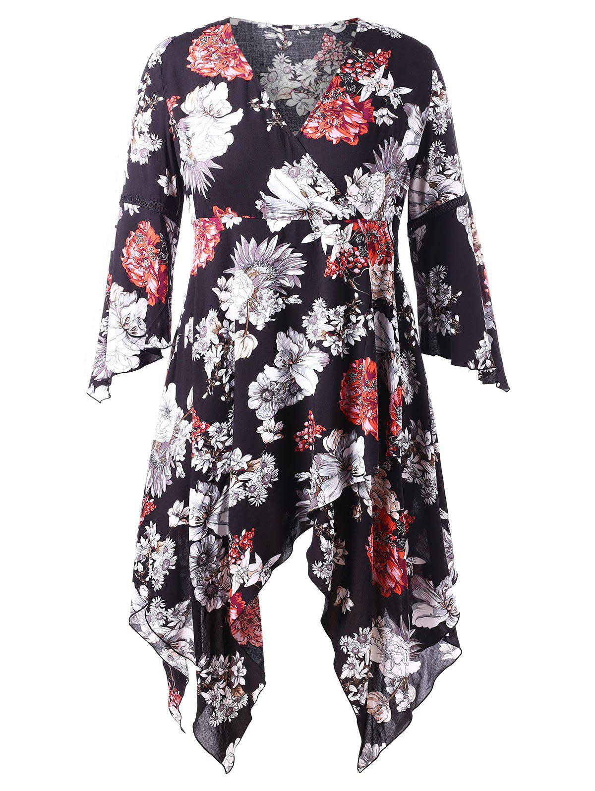 Best Plus Size Flare Sleeve Floral Handkerchief Dress