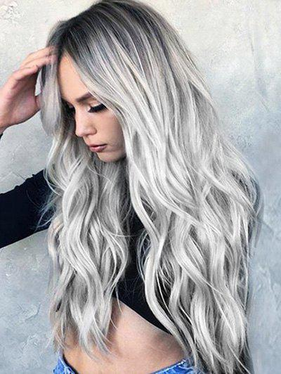 New Long Middle Part Wavy Colormix Synthetic Wig