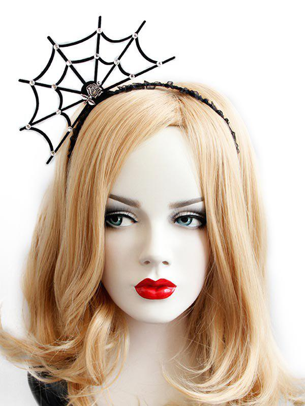 Trendy Rhinestone Spider Web Halloween Hair Hoop