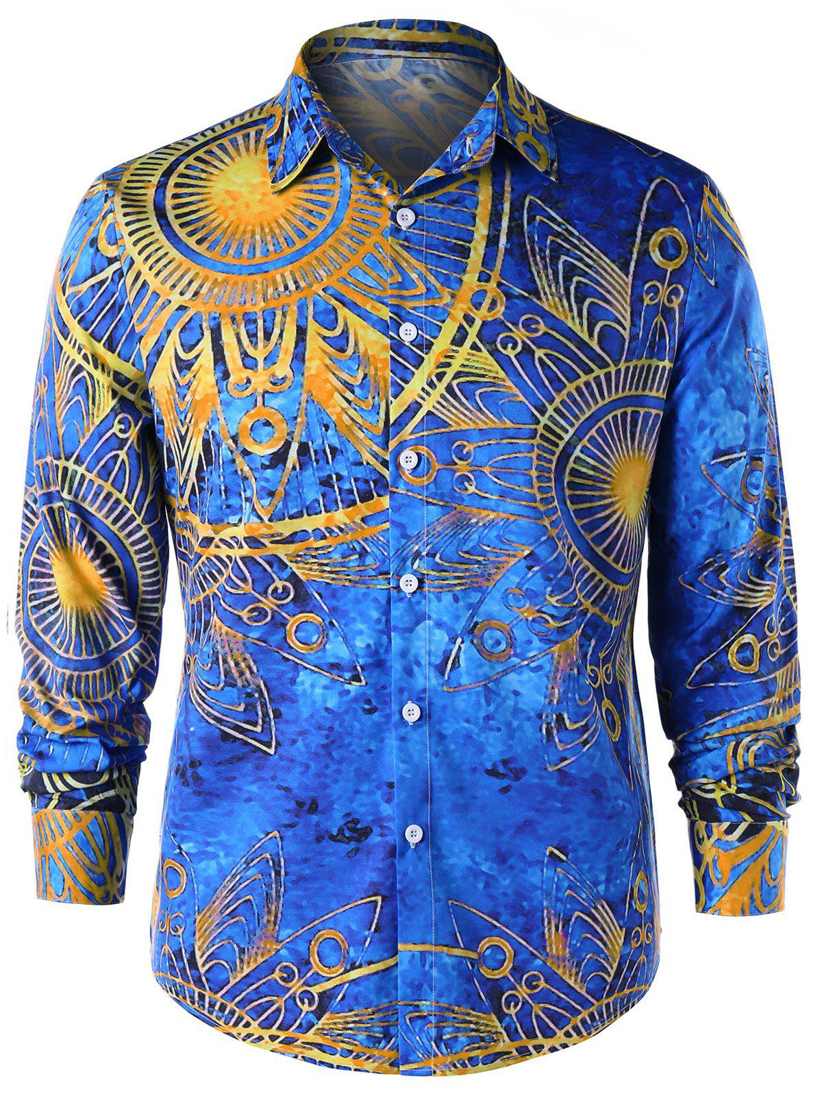 Unique Maya Totem Print Long Sleeve Shirt