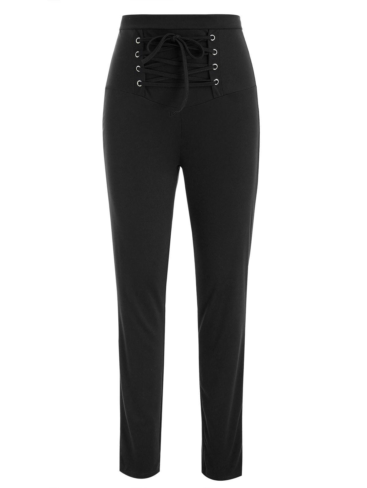 Affordable Lace Up High Waisted Pants