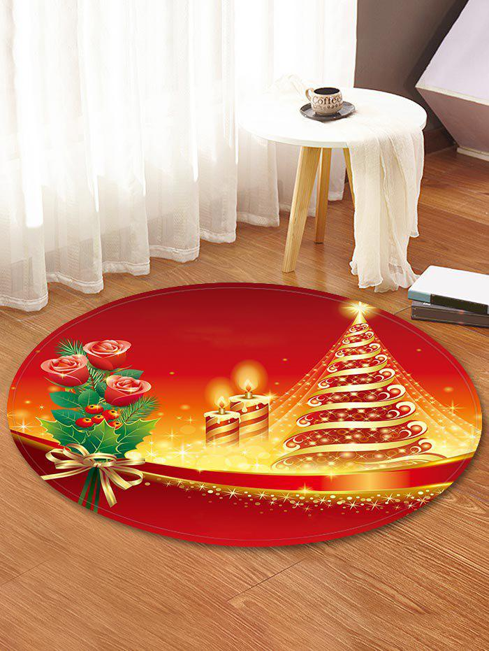 Hot Christmas Tree Flower Printed Decorative Round Floor Rug
