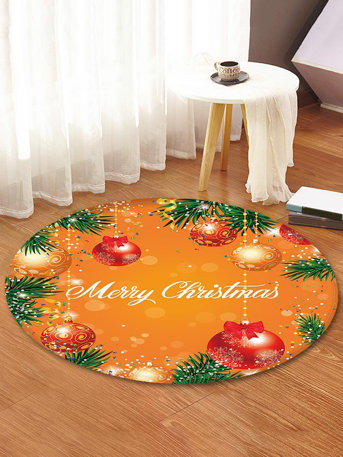 Merry Christmas Ball Pattern Tapis de sol rond Orange Foncé 80cm (Rond)