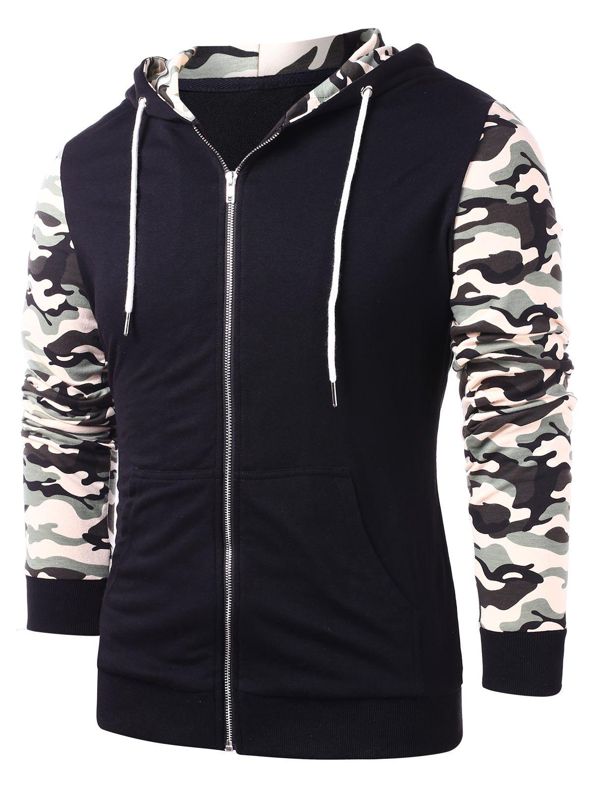 Outfit Camo Patchwork Zip Up Hoodie