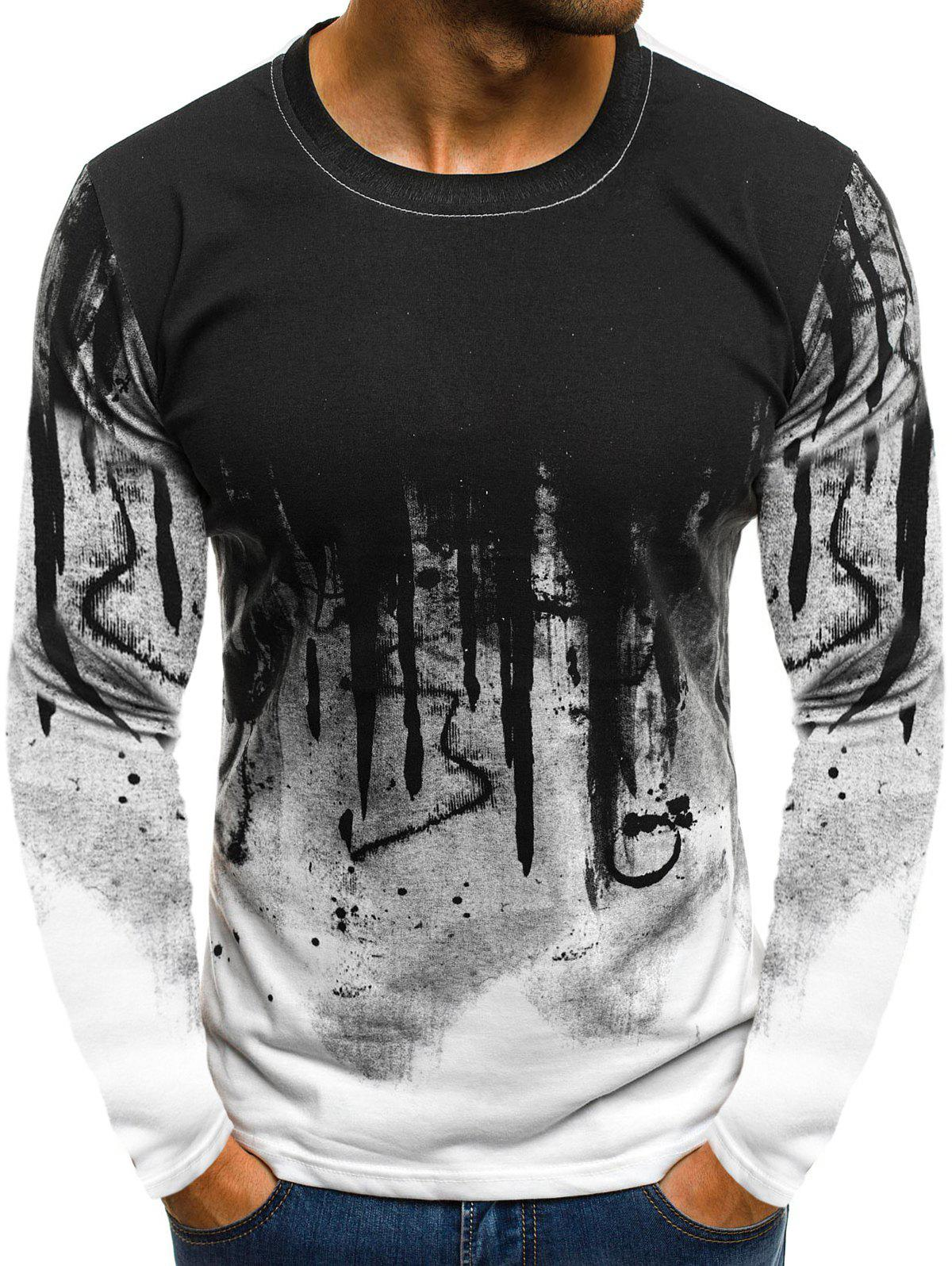 Online Ink Painting Print Long Sleeve Casual T-shirt