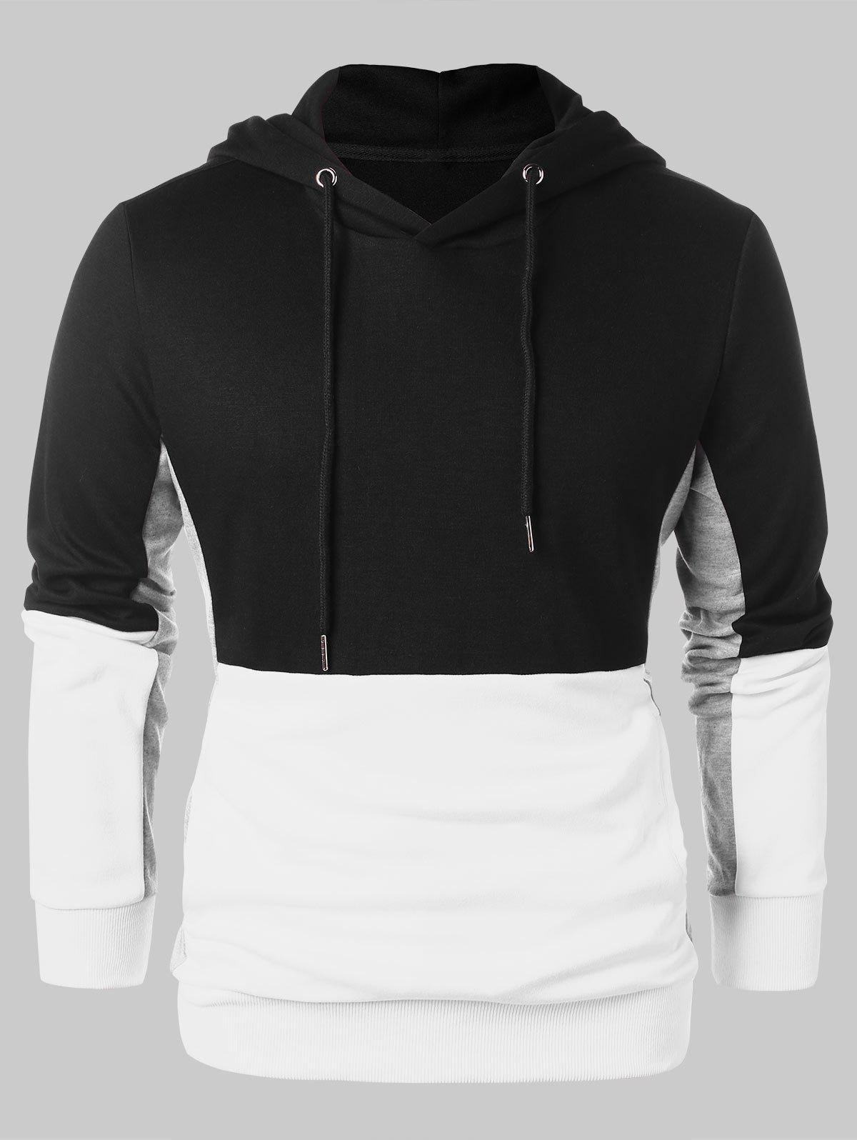 Chic Color Block Pullover Hoodie