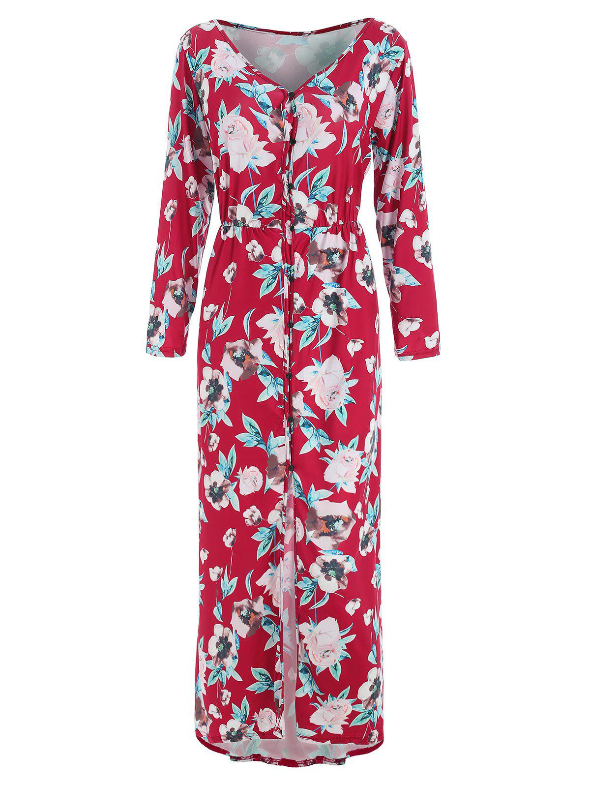 Buy Button Up Slit Floral Dress