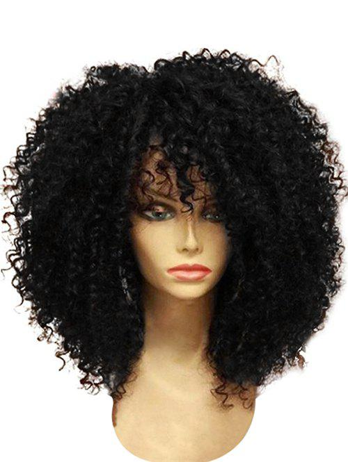 Affordable Medium Full Bang Fluffy Afro Curly Synthetic Wig