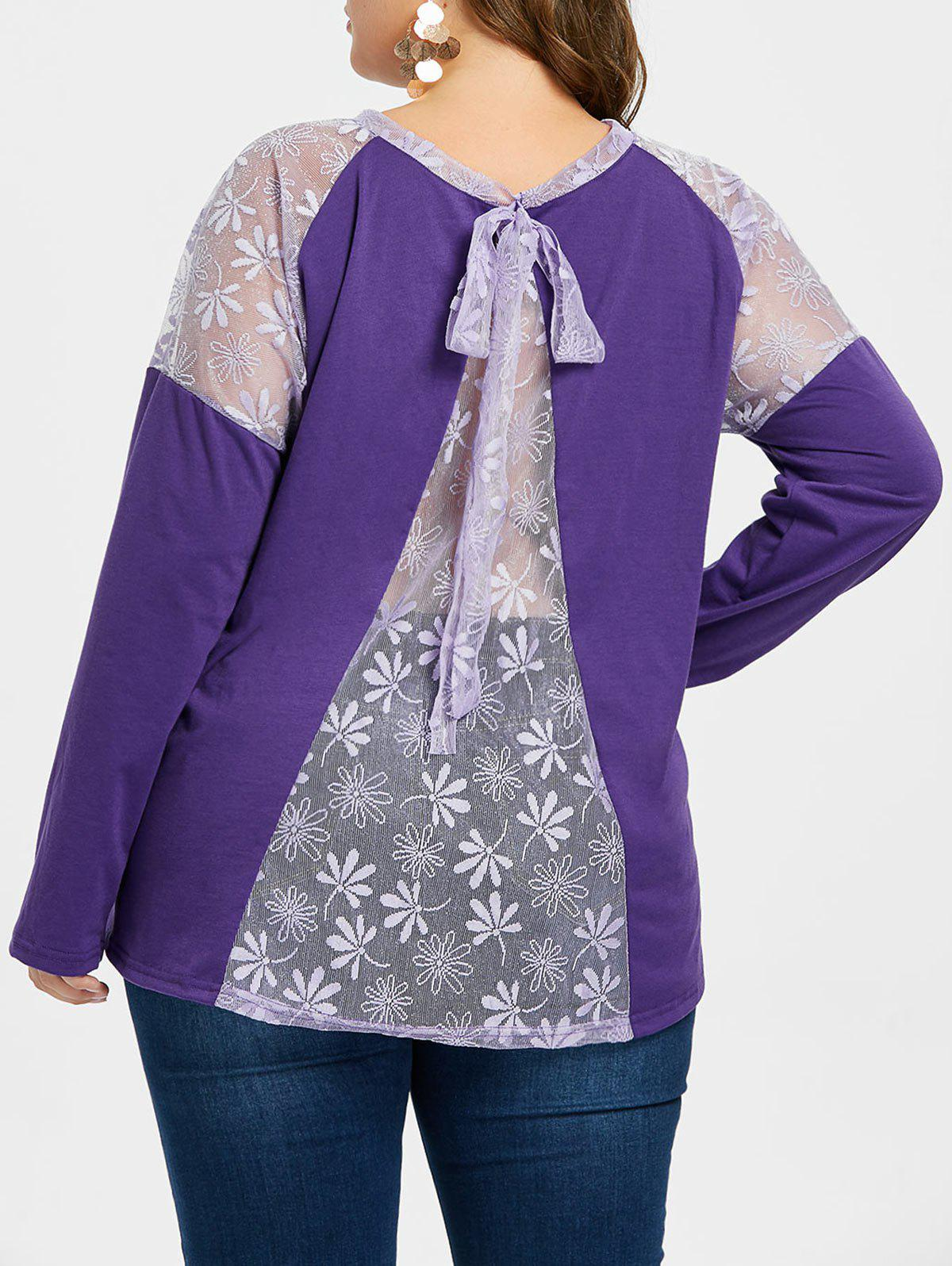 Buy Plus Size Lace Back Tie T-shirt