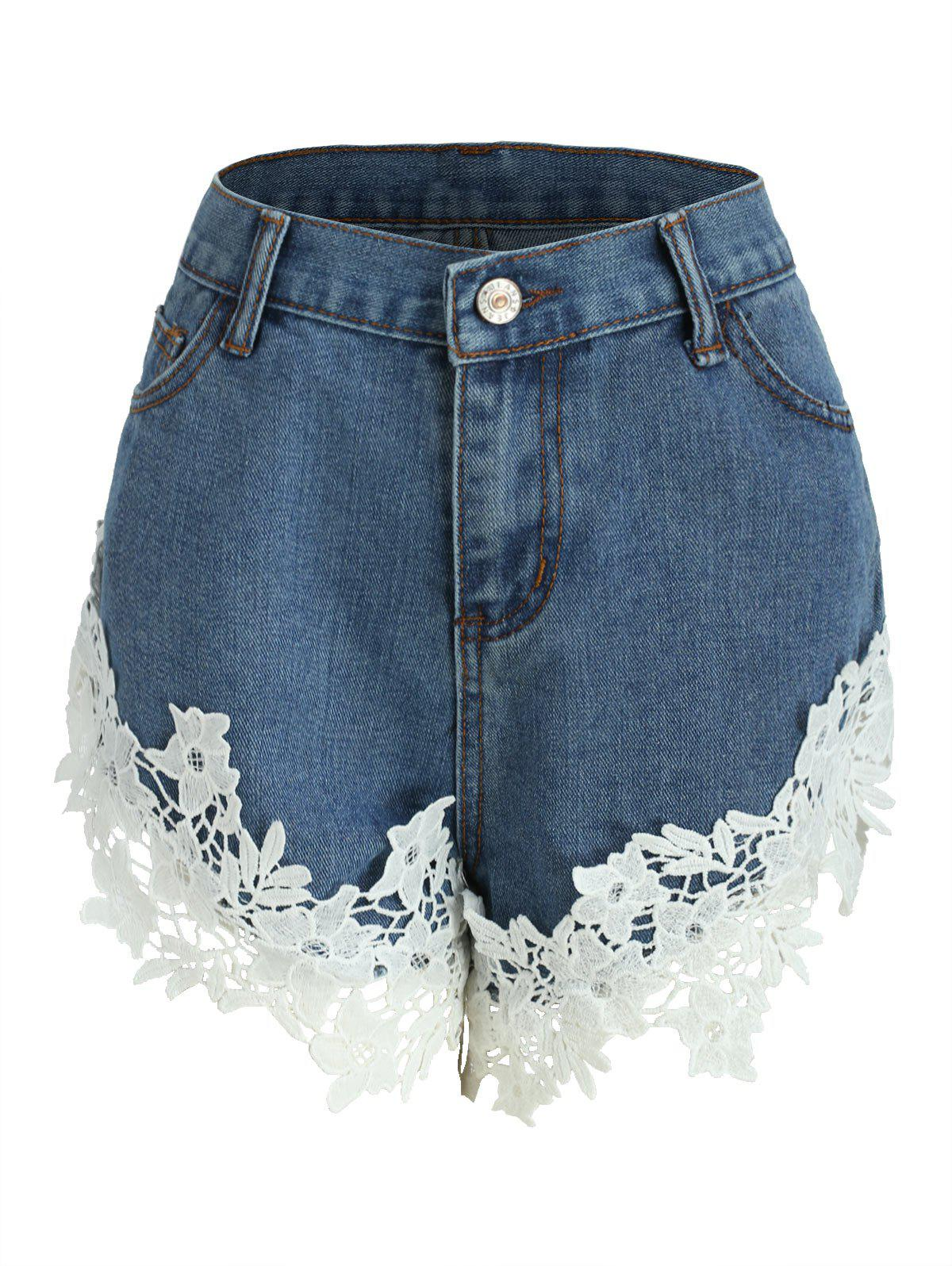 Chic High Waisted Lace Panel Jean Shorts