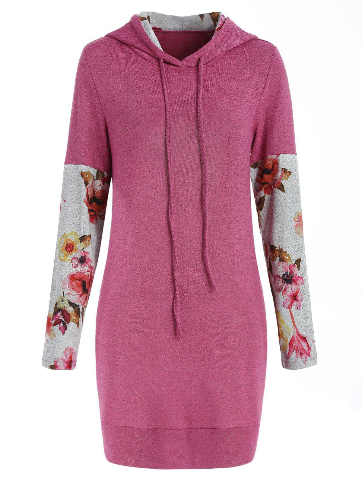 Outfit Drawstring Floral Long Sleeve Hoodie