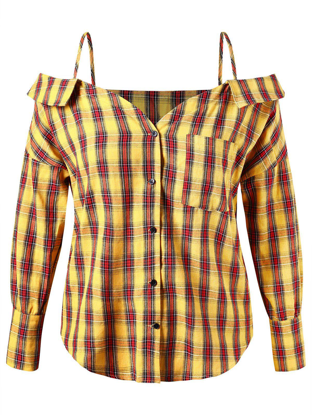Hot Plus Size Spaghetti Strap Plaid Button Up Shirt