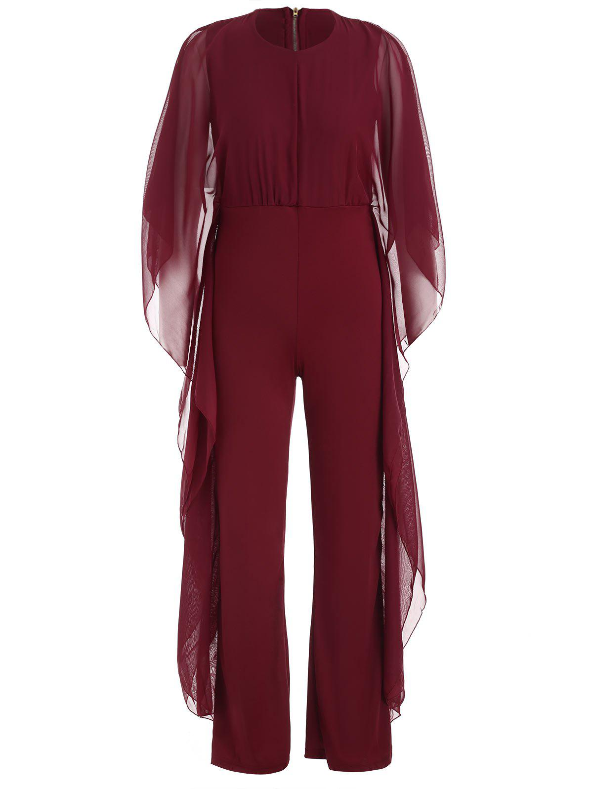 Shops Bat Sleeve Chiffon Panel Jumpsuit