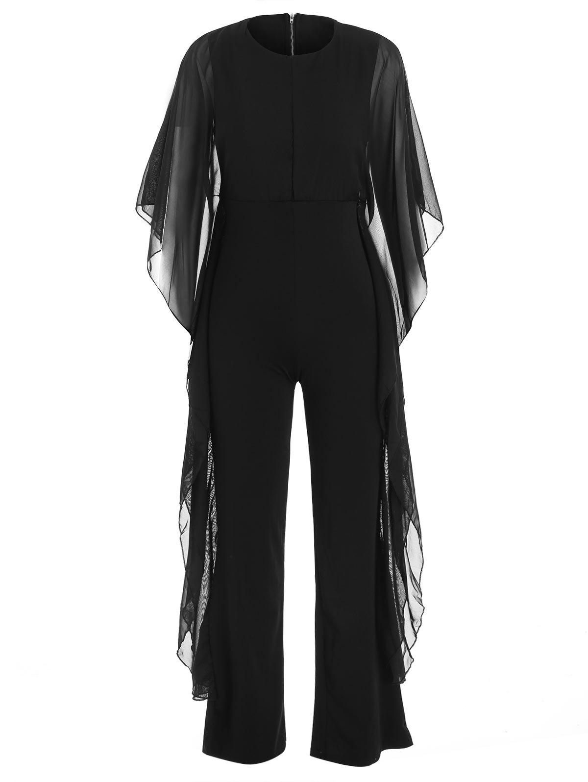 New Bat Sleeve Chiffon Panel Jumpsuit