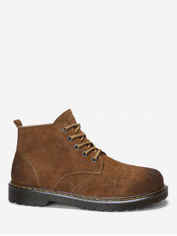 Lace Up Suede Short Wing Tip Boots