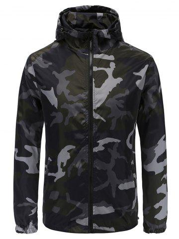 Casual Camouflage Print Hooded Jacket