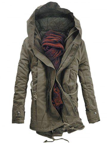 Hooded Padded Double Zip Up Casual Parka Coat