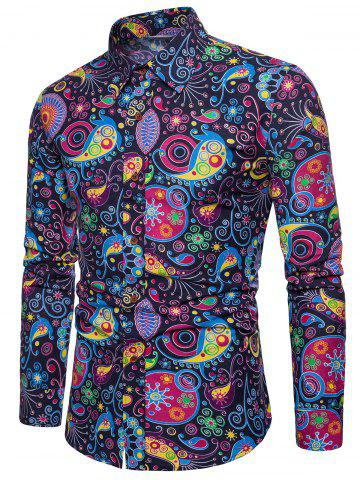 Colorized Patterning Printed Button Up Shirt