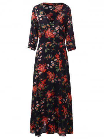 Floral Print Maxi Surplice Dress