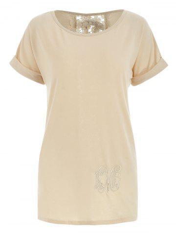 e9f131049 Stylish Short Sleeve Scoop Neck Lace Embellished Women's T-Shirt - KHAKI