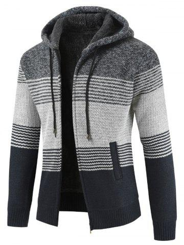 Color Block Stripe Sweater Jacket - GRAY - XS