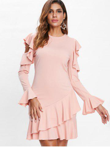 Flounce Cold Shoulder Layered Mini Dress