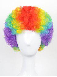 Halloween Christmas Party Short Afro Curly Rainbow Synthetic Wig -
