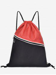 Color Block Casual String Backpack -
