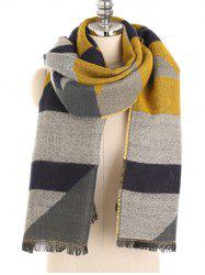 Color Splice Fringed Soft Scarf -