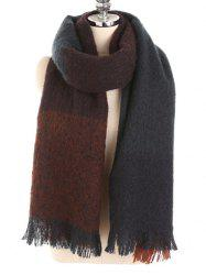 Winter Fringed Color Splice Soft Scarf -
