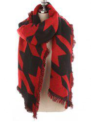 Houndstooth Pattern Fringed Soft Scarf -