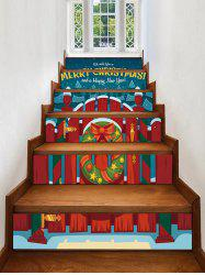 Christmas Wood Railing and Wreath Print Removable Stair Stickers -