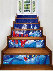 Christmas Village Snow Night Print Removable Stair Stickers -