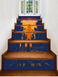 Christmas Show Window Family Silhouette Print Decorative Stair Stickers -