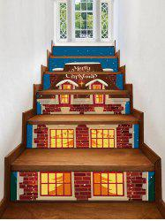 Christmas Night Covered Snow House Print Decorative Stair Stickers -
