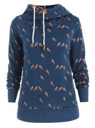 Sweet Style Hooded Long Sleeve Little Bird Print Women's Hoodie -