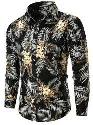 Flower and Leaves Print Button Up Shirt -