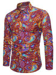 Allover Colorful Patterning Printed Long Sleeve Shirt -