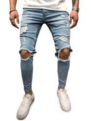 Zipper Fly Skinny Denim Jeans -