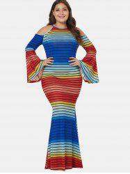 Color Block Plus Size Striped Mermaid Dress -