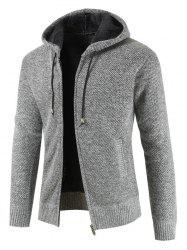 Zipper Drawstring Hooded Knitted Sweater -
