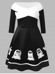 Plus Size Ghost Print Halloween Flare Dress -