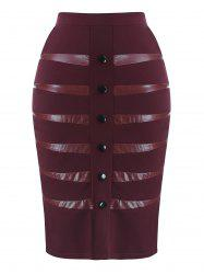 Plus Size Faux Leather Insert Skirt -