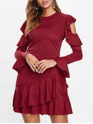 Flounce Cold Shoulder Layered Mini Dress -