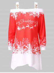 Plus Size Cold Shoulder Christmas Printed T-shirt -
