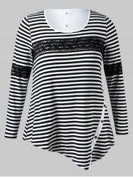 Plus Size Striped Asymmetrical Tee -