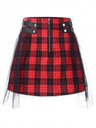 Mesh Panel Zip Waist Tartan Skirt -