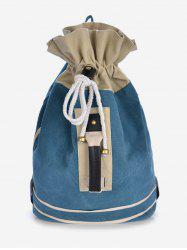 Canvas Color Block String Design Backpack -